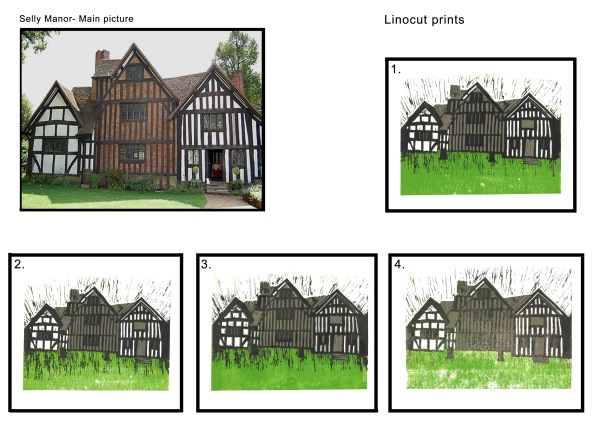 My first Linocut prints of Selly Manor in Bournville.