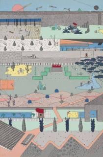 Poster based on competition drawings for Parc de la Villette