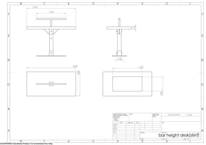bar height desk(slim) - kyriakos