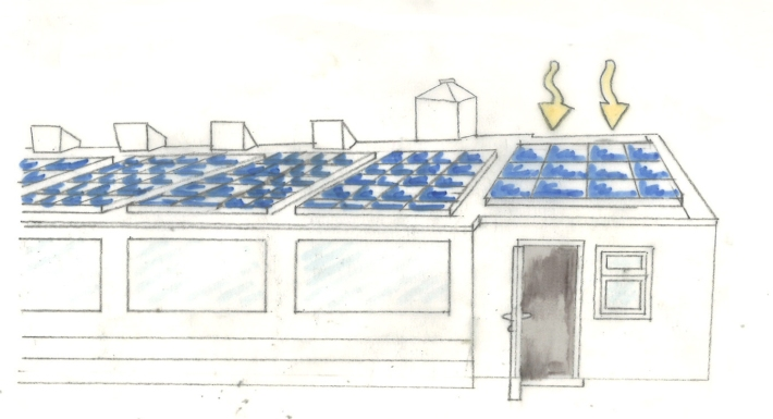Solar panels on site sketch