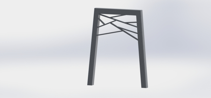 render of long table legs with geometric finish, cast