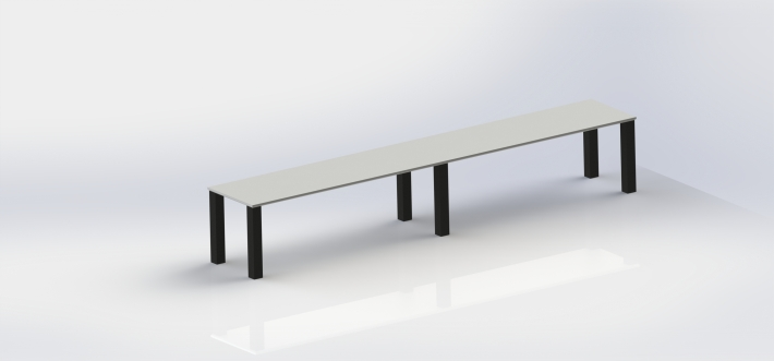 render of long table, plastic finish satin