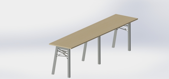 render of long table with geometric legs